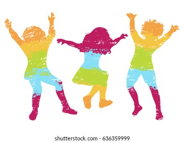 Children jumping. Colorful grunge silhouettes. Vector illustration