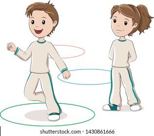 Children jumping hoops. Vector illustration