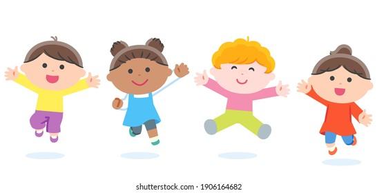Children jumping Together (various races) . No contour line