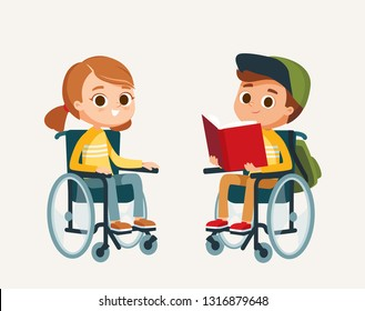 Children Kids boy and girl with disabilities sit in wheelchairs. Handicapped person. Disabled people