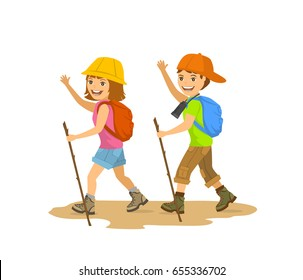 Children, kids, boy and girl hiking, camping, walking, trekking scene isolated vector illustration