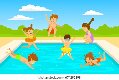 children kids, cute boys and girls swimming diving jumping into pool scene background