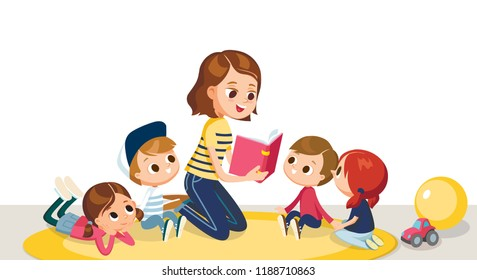 Children in a kinder garden. Children listening to the teacher. Teacher reading book to children.