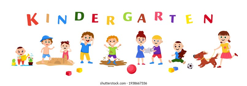 Children in a kindergarten. Group behavior. Kids playing. Day care center. Nursery school. Happy childhood concept. Editable vector illustration in flat cartoon style. Horizontal background.