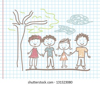 Children and landscape over paper background vector illustration