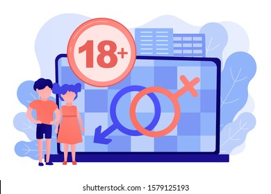 Children at laptop with adult content restriction for inappropriate video. Adult content, content notification, 18 age restriction concept. Pinkish coral blue vector isolated illustration