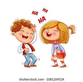 Children laugh fun. Funny cartoon character. Vector illustration. Isolated on white background