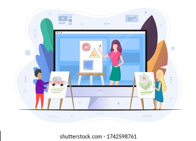 Children learn to draw. Video tutorials. School of Art online school. The teacher shows how to draw. Boy and girl with easels. Flat design. Vector illustration.