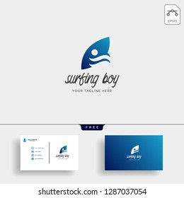 children learn surfing, boy surfer logo template with business card