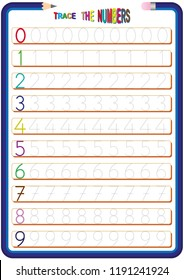 children are learning the numbers, math worksheet for kids, 0 to 9 the numbers, trace the numbers, hand writing