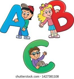Children with letters ABC theme 1 - eps10 vector illustration.