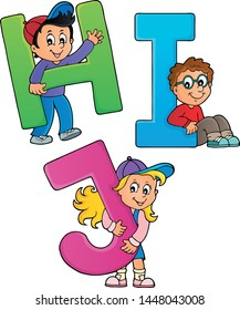 Children with letters HIJ - eps10 vector illustration.