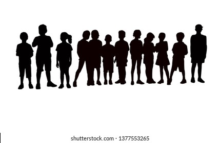 children in line silhouette vector