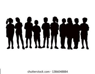 children in line, silhouette vector