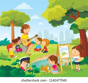 Children listening to the teacher. Teacher playing on guitar to children.  Teen boy reading book. Girl drawing the watercolor.  Vector illustration. Flat design.