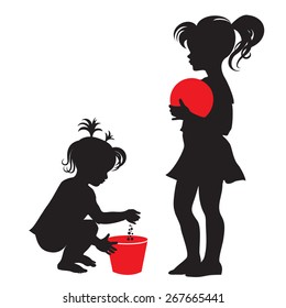 Children. Little girl with red ball. Little girl with red bucket. Silhouette. Vector.