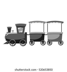 Children locomotive icon. Gray monochrome illustration of children locomotive vector icon for web