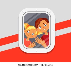 Children looking from window of plane. Vector flat cartoon illustration
