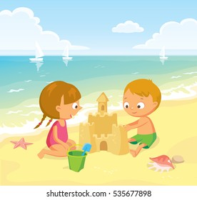 Children making sand castle at the beach