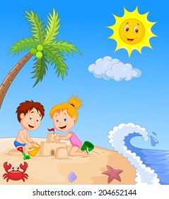 Children making sand castle at tropical beach