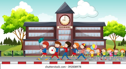 Children marching in front of school illustration