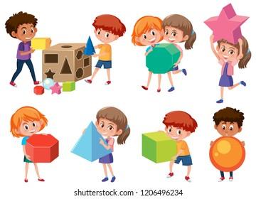 Children with math shape illustration