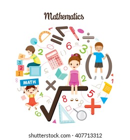 Children With Mathematics Formula, Number And Icons, Back to school, Stationery, Book, Knowledge, Supplies, Educational Subject