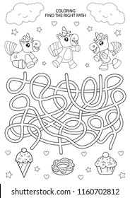 Children maze and coloring. Kids labyrinth game and activity page. Find the right path for unicorns. Funny riddle. Education developing worksheet. Vector illustration.