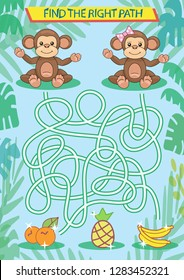 Children maze with a cute monkeys. Kids labyrinth game and activity page. Find the right path to fruits. Funny riddle. Education developing worksheet. Vector illustration.