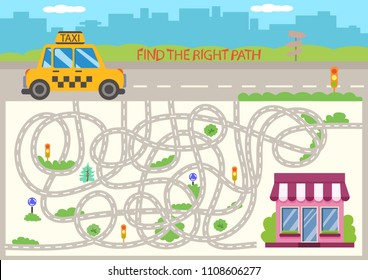 Children maze. Find the right path cartoon taxi car to store. Funny riddle entertainment and kids game. Activity page for book. Kids board game with labyrinth. Vector illustration.