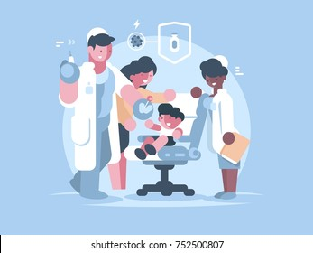 Children medical vaccination. Doctor injects vaccine child. Vector illustration