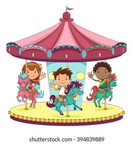 Children merry go round, vector illustration
