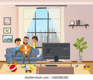 Children Messing Around Tired Annoyed Angry Father. Stress Man Character with Clenched Teeth Sitting on Sofa infront of TV. Naughty Kids Playing and Making Mess at Home. Cartoon Vector Illustration