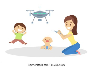 Children with mother playing with quadcopter. Controlled drone. Modern technology concept. Isolated flat vector illustration