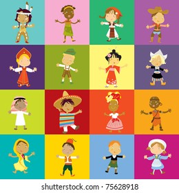 children multicultural traditional clothing