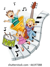 Children with Musical Instruments - Vector