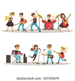 Children Musicians Performing On Stage On Talent Show Colorful Vector Illustration With Talented Schoolkids Concert