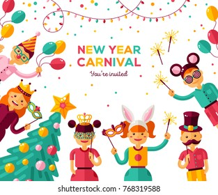 Children New year 2018 carnival party poster. Vector illustration. Friends celebrating and laughing together. Happy boys and girls in costume at masquerade. Cartoon characters with decorated fir tree