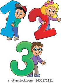 Children with numbers theme 1 - eps10 vector illustration.