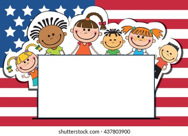 children on American flags banner independence day vector english background