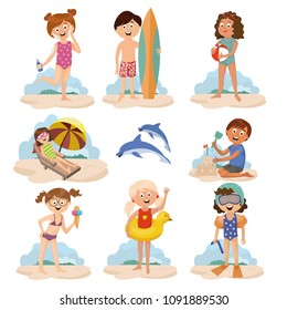 children on the beach , children's games , children play , sand , vector graphics