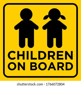 Children On Board Yellow Warning Sign Sticker Banner