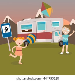 Children on Camper Vacation. Happy Kids Playing in Mountains. Vector illustration