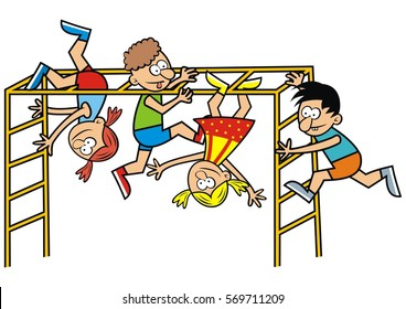 children on monkey gym, vector funny icon