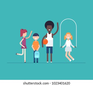 Children on PE lesson - modern flat design style isolated illustration on blue background. Smiling cheerful cartoon characters skipping, running, standing with a bag and an African teacher