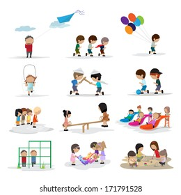 Children On The Playground - Isolated On White Background - Vector Illustration, Graphic Design Editable For Your Design