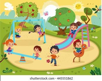 Children on the playground vector.