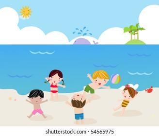 Children on the sunny beach