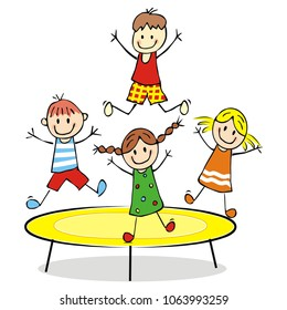Children on a trampoline, vector illustration