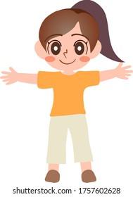 開いた腕と距離、社会的距離を持つ子ども